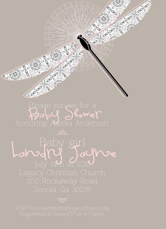 dragonfly baby shower invitations