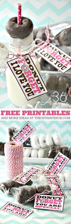 """Free Printable """"Donut Forget I Love You"""" Valentines! These are simple and adorable."""