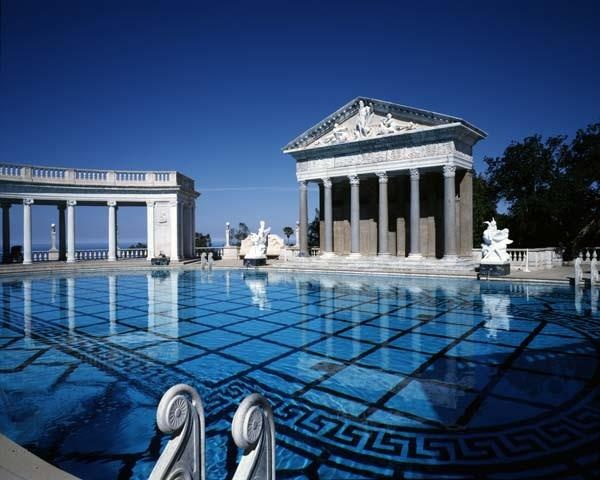 Neptune Pool at Hearst Castle, San Simeon, California, designed by Julia Morgan in 1919.