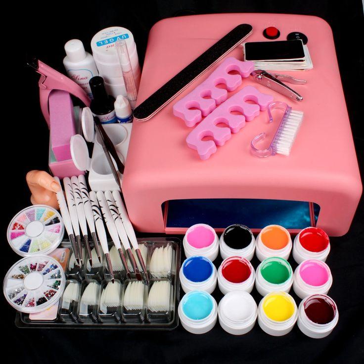 54.73$  Buy here - http://aidon.worlditems.win/all/product.php?id=1729079409 - New Pro Nail Art  36W UV GEL Pink Lamp & 12 Color UV Gel Nail Art DIY tips Tool Kits Sets