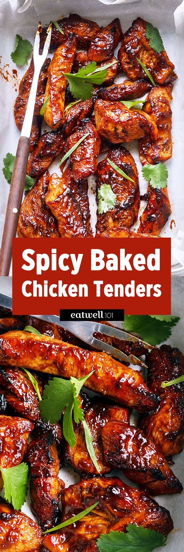 . Chicken strips are marinated in a sweet and spicy sauce, then baked ...
