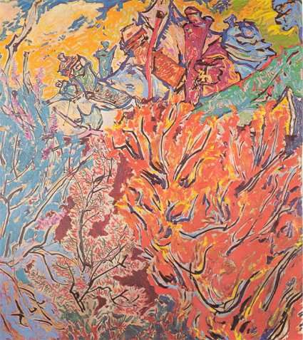 Orange Bush 1974.  An early work by Philip Trusttum. His easy and natural relationship with line and colour make this such a joy.  Another protege of Kees and Tina Hos.  Daphne Mason also showed at their gallery