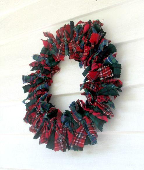 Beautiful Patchwork/Rag Tartan Plaid Christmas Wreath...nice way to use Goodwill dress or skirt fabric.