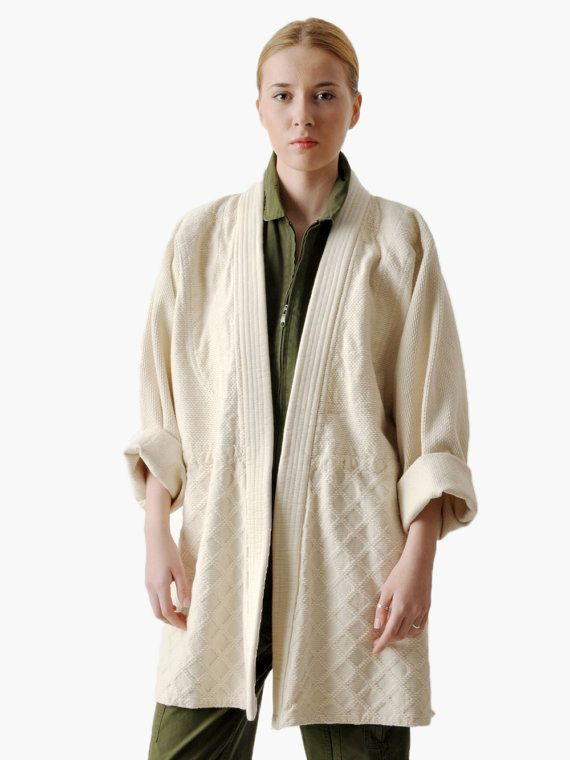 Vintage Textured Natural Cotton Jacket by maevenvintage on Etsy, $75.00