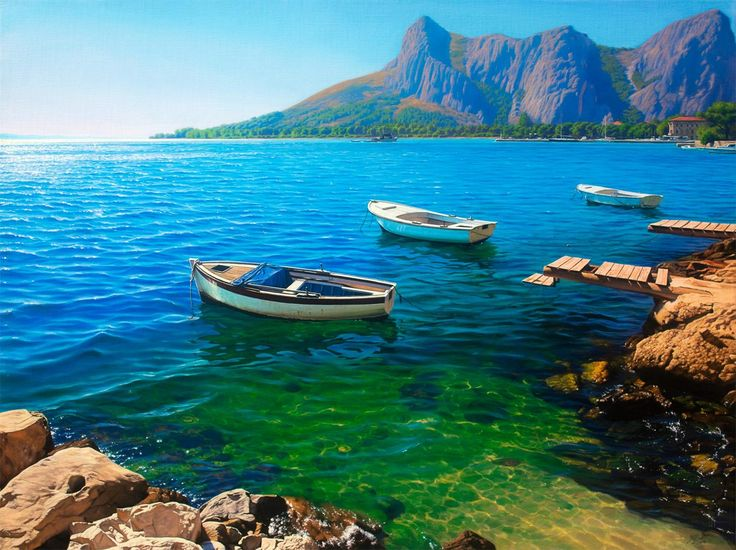 "New astonishing painting of Croatian coast.   ""The Pirate Bay - Omiš"", oil on canvas, 36x48"", 2014 ""Gusarski zaljev - Omiš"", ulje na platnu, 92x122cm, 2014. Painted by Davor Zilic"