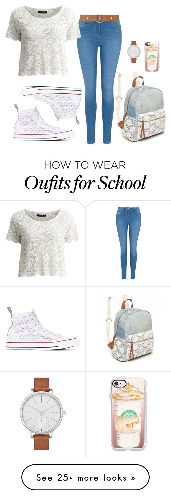 """""""Converse Chuck Taylor All Star - 17 #School"""" by inlovewithtay on Polyvore featuring Red Camel, Converse, George, VILA, Skagen, Casetify, Marni, converse and allstar"""