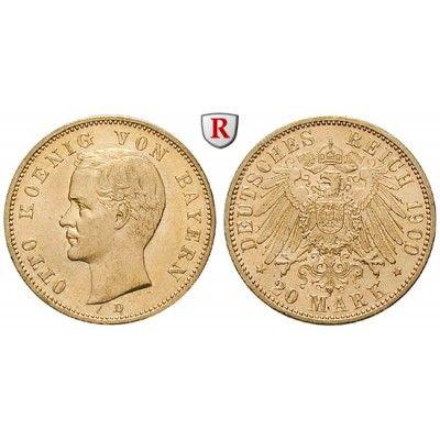 Deutsches Kaiserreich, Bayern, Otto, 20 Mark 1900, D, f.vz/vz+, J. 200: Otto 1886-1913. 20 Mark 1900 D. J. 200; GOLD, fast… #coins