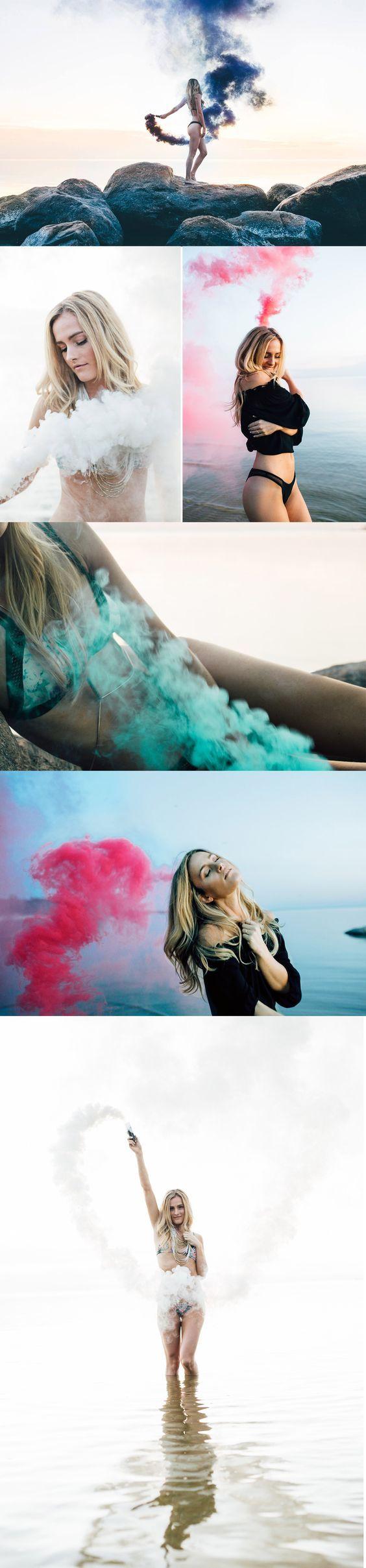 Photoshoot ideas Smoke Bomb Photography Beach