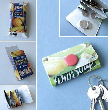 Monedero a partir de un empaque de jugo / leche