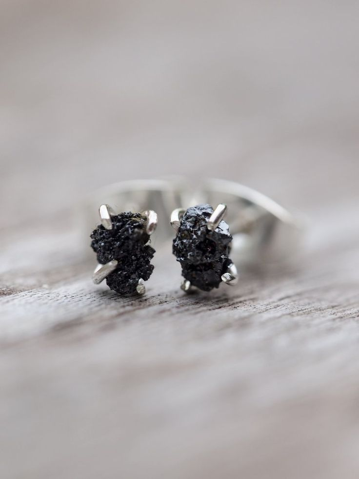 Rough Black Diamond Earrings with genuine, conflict free raw diamonds. These simple studs will become your go to pair.
