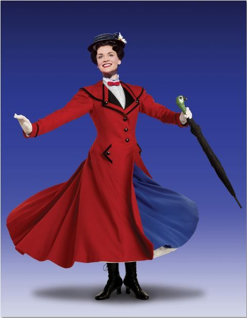 Mary Poppins costume - brown coat in beginning, then changes to this red one.