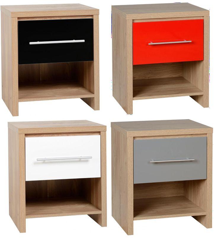Seville 1 Drawer Bedside Table Black Red Grey Amp White