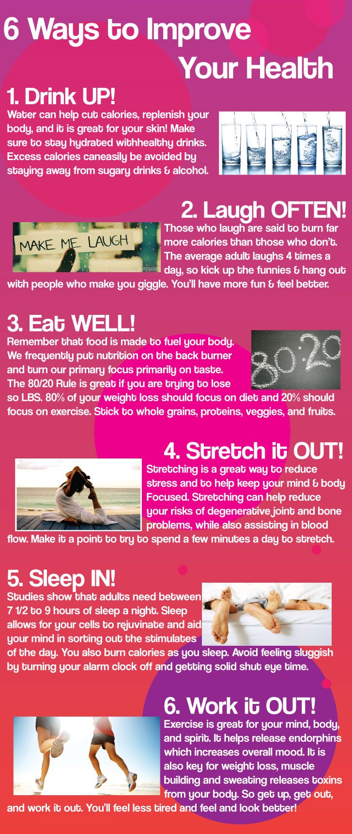 HEALTHY LIFESTYLE -         6 Ways to Improve Your Health. #Health #Infographic.