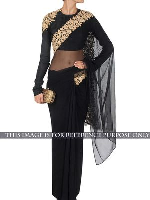 NEW LATEST BLACK COLOR NYLON NET EMBROIDERY WORK SAREE Bollywood Sarees Online on Shimply.com