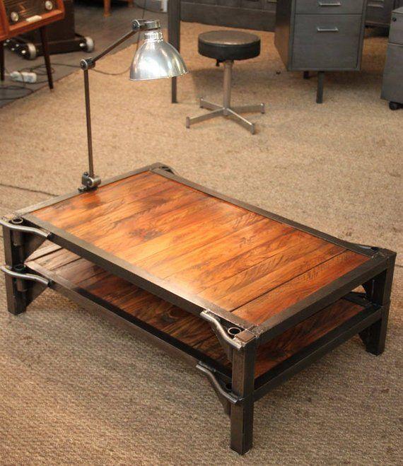 Table Basse Palette Sncf Usine Atelier Mobilier Industriel Design Metal Bois Coffee Table Metal Table Pallet Coffee Table