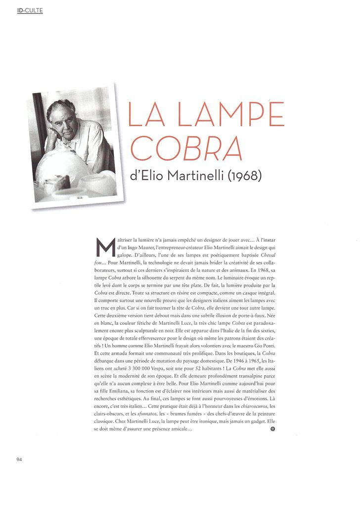 Ideat _ special report dedicated to Martinelli  Luce and Cobra @ Maison&Objet http://www.martinelliluce.it/comunicazione/