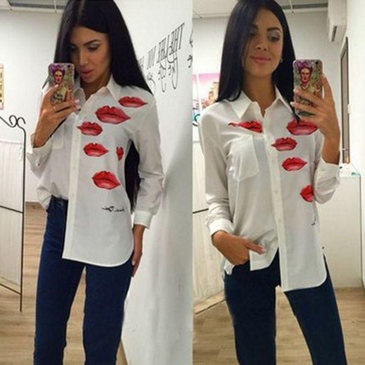 Hx Women Autumn Shirts Fashion Long-Sleeve White Printing Blouse Chiffon Shirts