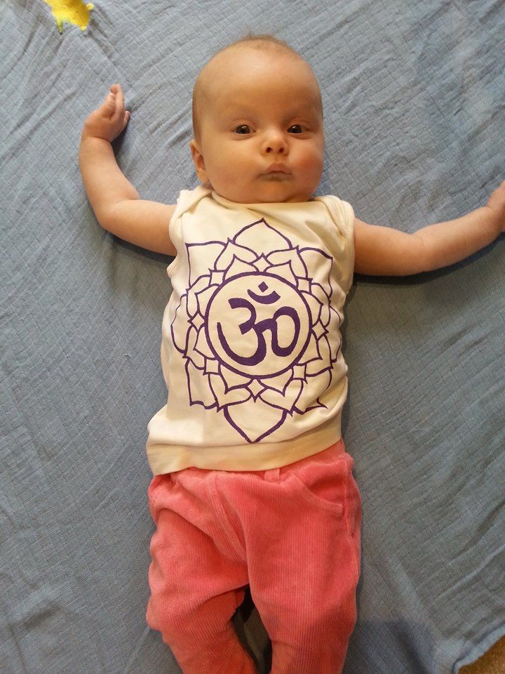 Cream Baby SInglet with Purple 'Om within Lotus' design. Bamboo/Organic Cotton. Fair Trade.