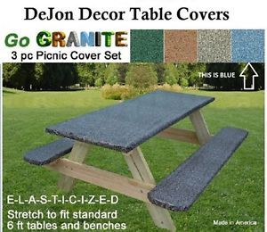 22 Stretch To Fit 3 Pc Vinyl Picnic Table Cover Fit 6 Ft Table U0026 Benches