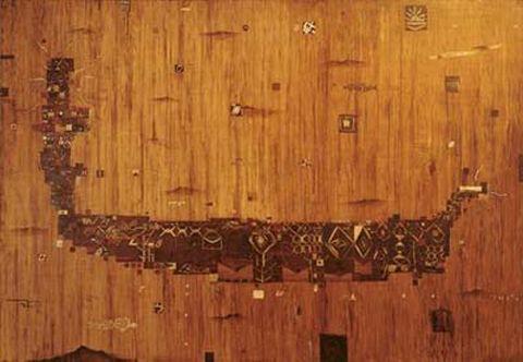 Shane Cotton, Wake, 1995, oil on canvas, 1900 x 2750mm