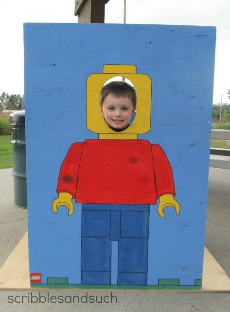 What a cute idea! Could paint more than one to get group photos of birthday boy with party guests. lego party photo prop  Workshop of Wonders VBS Decorations