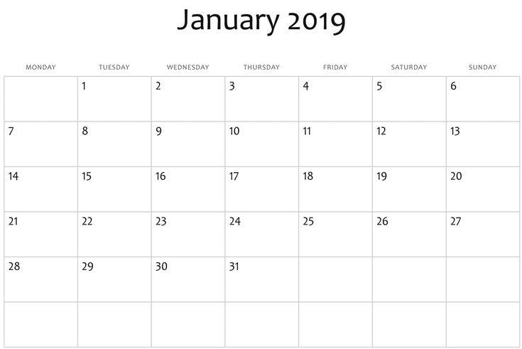january 2019 printable calendar download