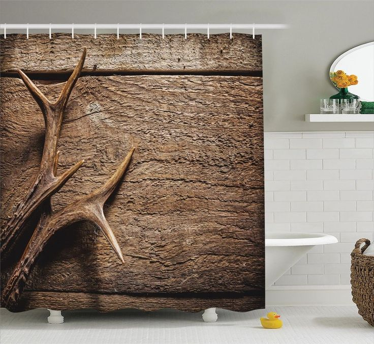Superieur Deer Antlers On Rustic Wooden Table Hunting Natural Art Decor Shower  Curtain Set