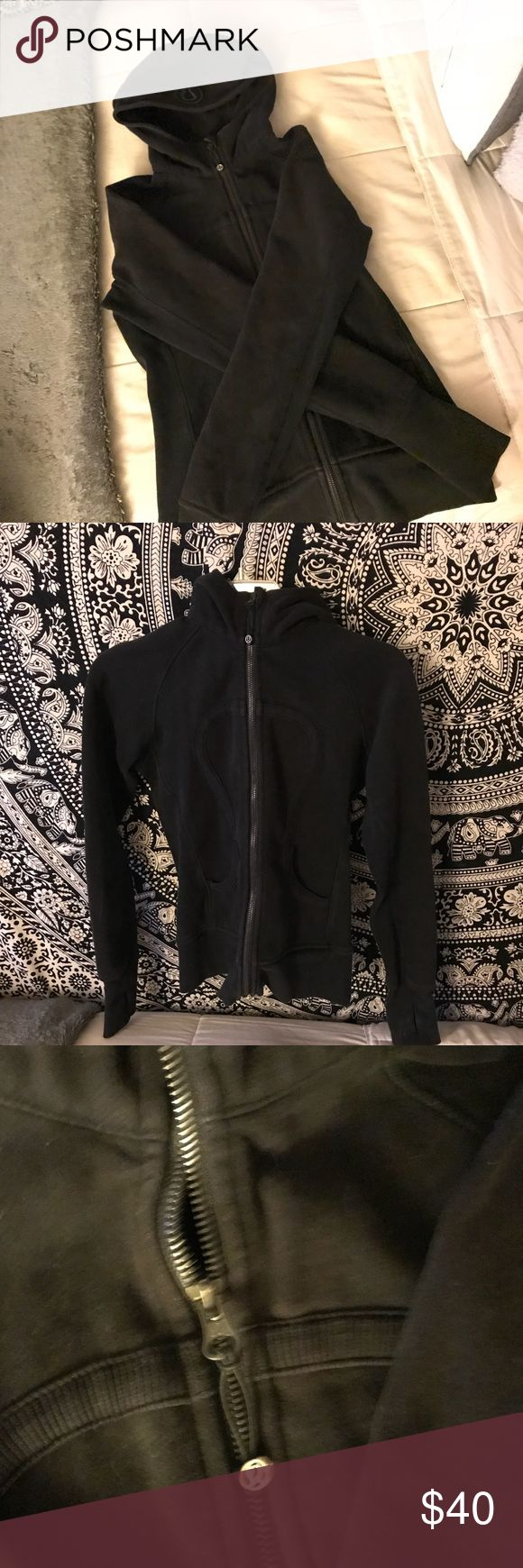 Lulu lemon all black zip up hoodie! Black shade is slightly faded but has no stains nor holes! Zipper works perfectly and is very warm.   Feel free to message me any questions regarding extra photos, sizing, modeling, & price! lululemon athletica Tops Sweatshirts & Hoodies