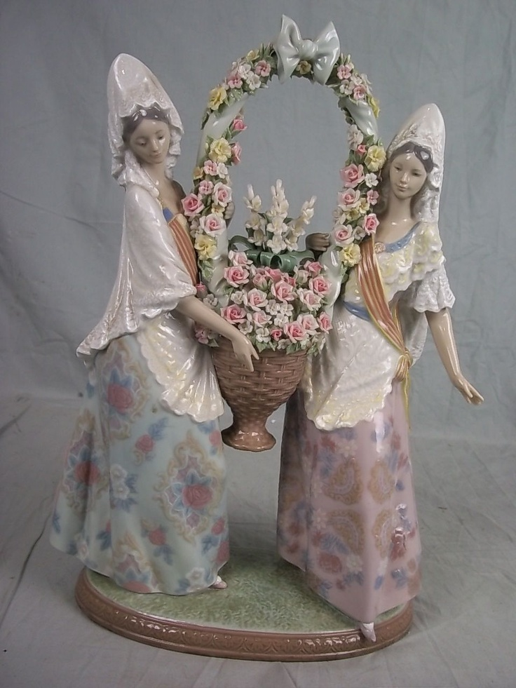 """Lladró Porcelain Limited Ed. """"Floral Offering"""" (2,250 GB pounds) 2 Falleras (in the typical costume of Valencia's Fallas festival) holding a basket of flowers. They're wearing fine lace shawls (mantillas).  It was designed by Juan Huerta, produced from 1985 & retired in 2005. ///  This is the """"Ofrenda,"""" the offering of flowers to the Virgin of the Abandoned or Outcasts, Patroness of Valencia.  I have participated and so has my daughter Monica when she was 4 during a visit to Grandma's in…"""
