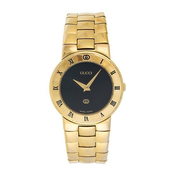 Pre-owned Gucci 3300L Gold Plated Quartz 26.5mm Womens Watch ($195) ❤ liked on Polyvore featuring jewelry, watches, quartz wrist watch, preowned jewelry, pre owned watches, preowned watches and bezel jewelry
