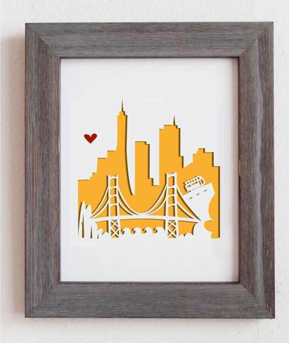 Cut out city scape of San Francisco, CA and the Golden Gate Bridge. Perfect for gift or for your home decoration!