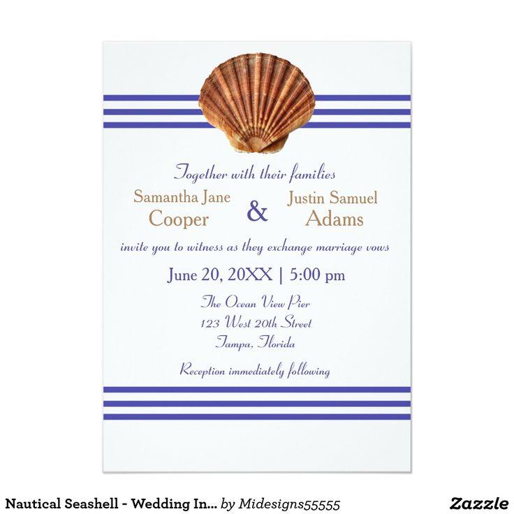 Nautical Seashell   Wedding Invitation