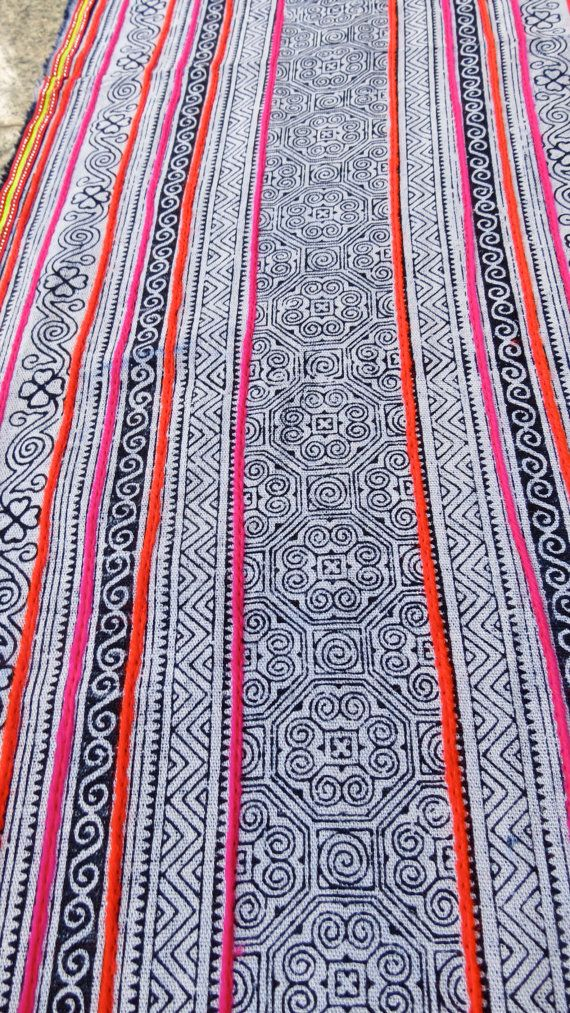 Handwoven Batik Cotton , Hmong  Vintage textiles and fabric- table runner from Thailand