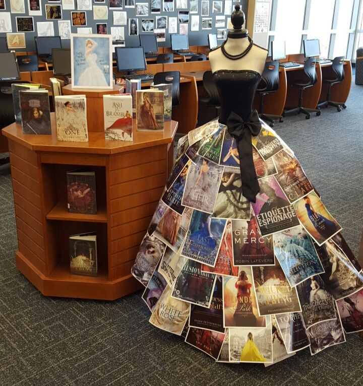 """Library Geekinista : Dress made out of Y.A. book covers that feature gorgeous dresses for """"Say 'Yes' to the dress and book"""" library display. #librarydisplays #library"""