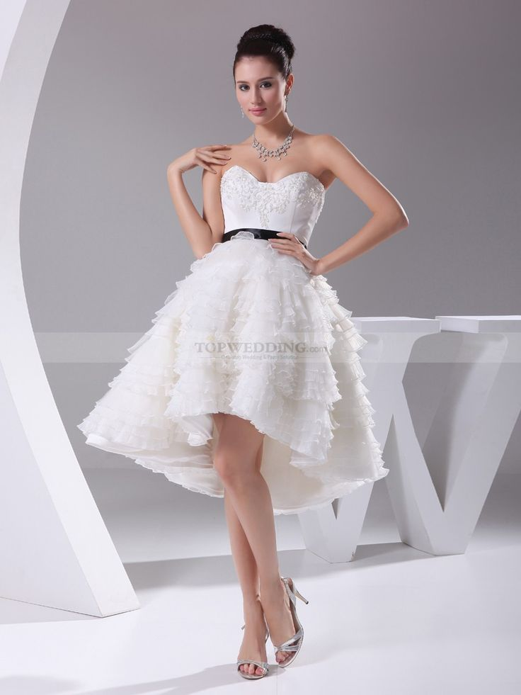 Strapless A Line Appliqued Mini Wedding Dress with Allover Ruffle Tiers