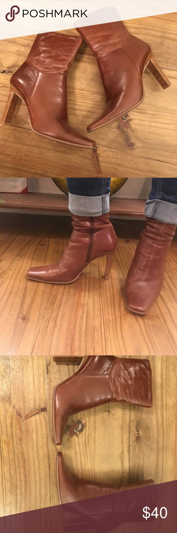 Skechers brown leather ankle booties size 9 Super cute ankle booties. I love these with cuffed skinny jeans but I never get a chance to wear these boots. They need a good home with a sassy girl who will rock them like they deserve! Skechers Shoes Ankle Boots & Booties