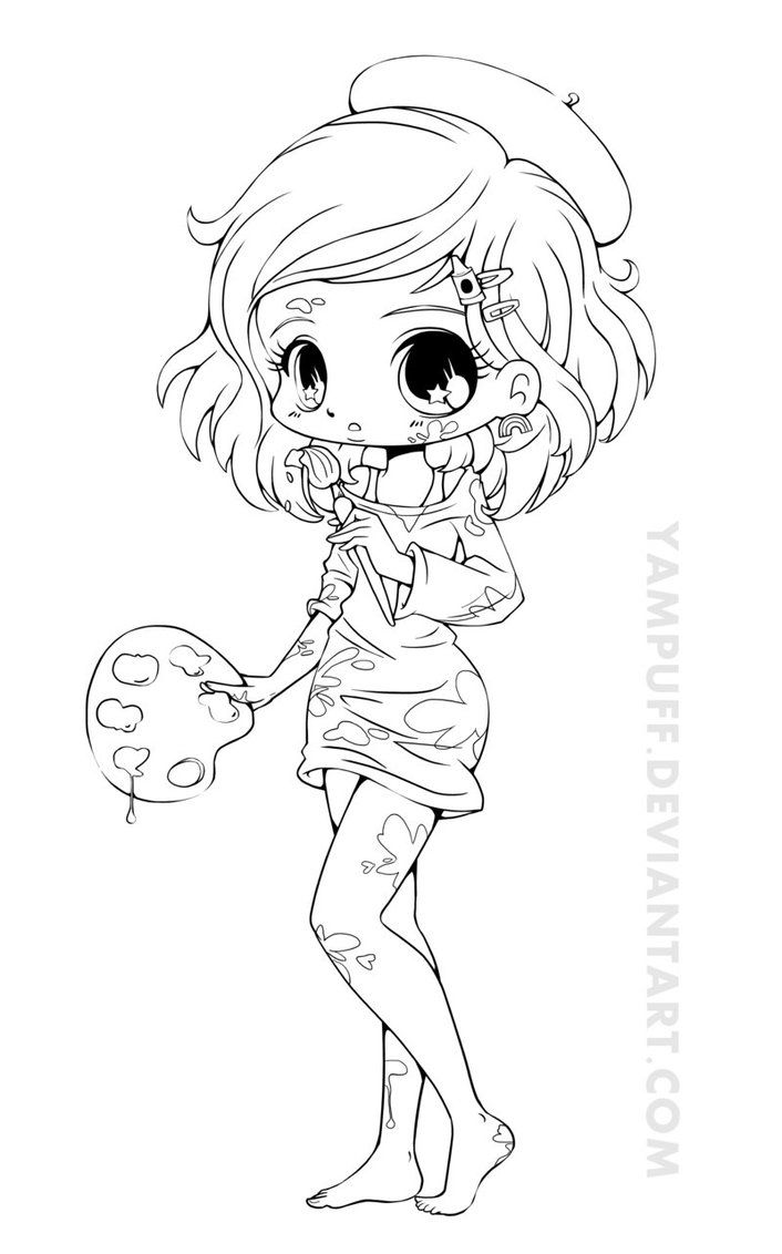 artist chibi lineart by yampuff on deviantart - Coloring Pages Anime Couples Chibi