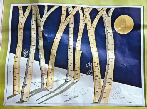 Birch Trees Crewel Embroidery Kit Bucilla Complete 1976