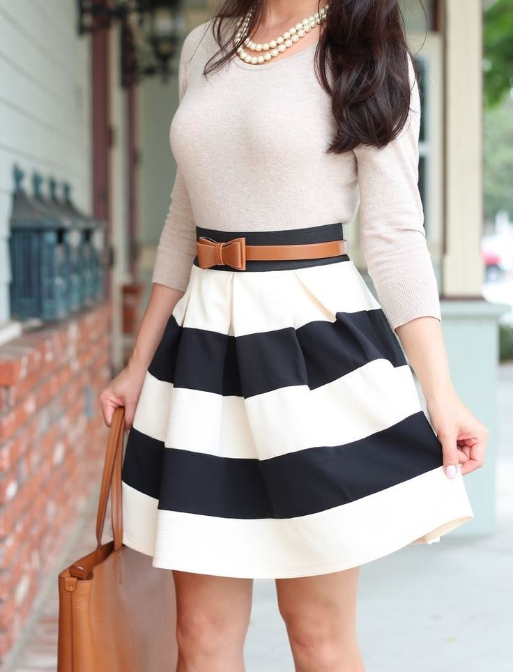 Classy--Love the outfit, just not the stripes or color.The tight top with the longer flare skirt on bottom is really hot.
