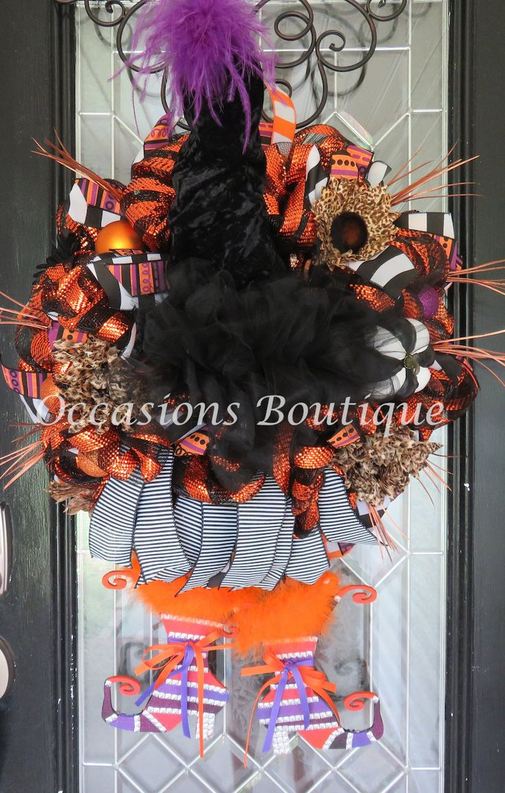 Witch Wreath, Halloween Wreath, Halloween Decoration, Fall Wreaths, XL Wreath, Double door wreath, Front door wreaths by OccasionsBoutique on Etsy