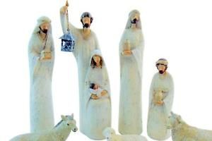 Large Nativity Set Christmas Advent Decor 7 Piece Holy Family Crib Scene 9 H | eBay