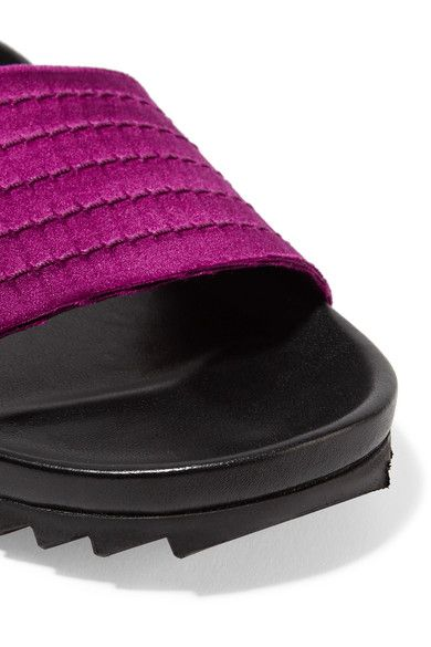 Pedro Garcia - Amparo Quilted Satin And Leather Slides - Magenta - IT38.5