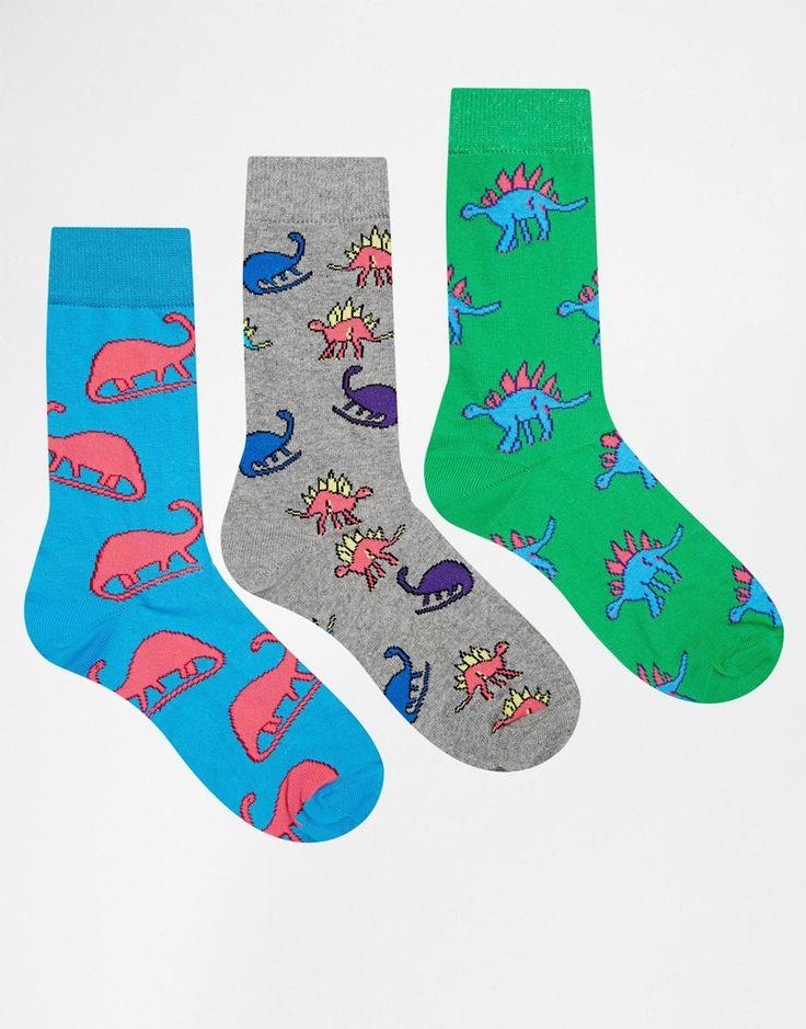 ASOS 3 Pack Socks With Dinosaur Design