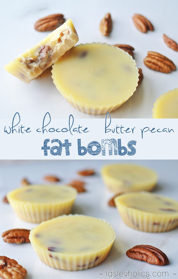 White chocolate, meet butter pecan in this delicious fat bomb recipe. 30g of fat and less than 1 carb in each one! One of our favorite keto, low carb, high fat treats.                                                                                                                                                                                 Plus