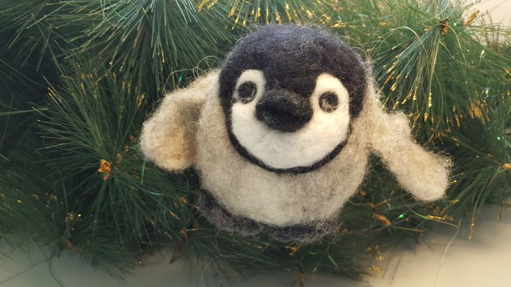 Needle felted bird, Christmas Ornament, Christmas Decoration, Wool Felt Ornament, Cute penguin, Holiday Gift, Ready to ship by ZaborkaArt on Etsy