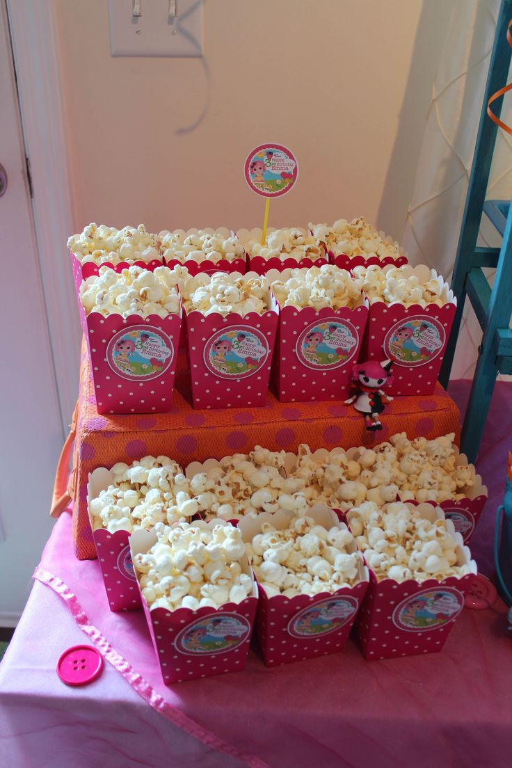 Lalaloopsy party popcorn. Maybe this year Dixie can have a slumber party with a few friends :)