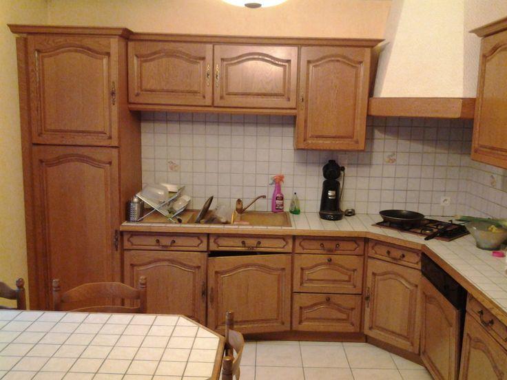 Les 25 meilleures id es de la cat gorie armoires grises - Repeindre une cuisine en bois massif ...