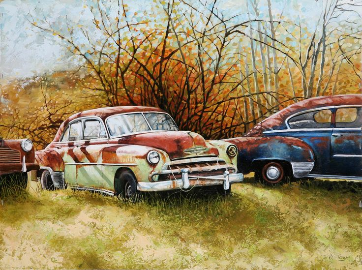 Autumn Rust Vintage Cars Painted In Oils Original Artwork For