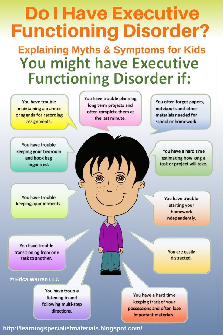 Come learn about executive functioning disorder: symptoms, the myths and truths, strategies for success and also get two free printable images.