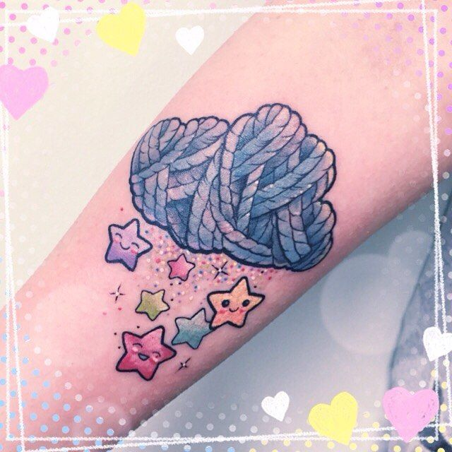 Adorable idea. Yarn cloud raining rainbow stars.Thanks Laura. #tattooed #tattoo…